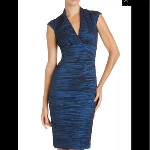 🌻Nicole Miller Ruched Crinkled Metallic blue dres